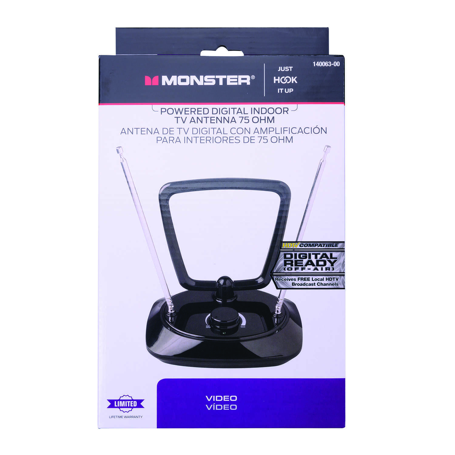 Monster Cable  Indoor  Amplified Antenna  1  FM/HDTV/UHF/VHF