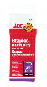 Ace  3/8 in. L Steel  Heavy Duty Staples  1000  Wide Crown