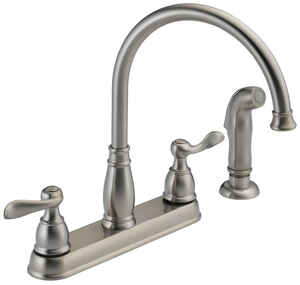 Delta  Windemere  Traditional  Two Handle  Stainless Steel  Kitchen Faucet  Side Sprayer Included