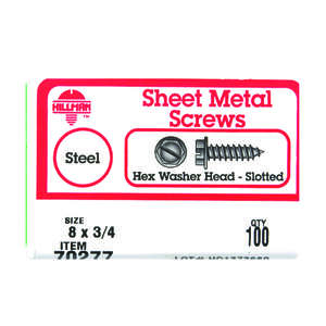 HILLMAN  3/4 in. L x 8   Slotted  Zinc-Plated  Hex Washer  100 per box Sheet Metal Screws  Steel