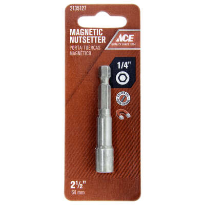 Ace  1/4 in. drive  x 2-1/2 in. L Chrome Vanadium Steel  Magnetic Nut Setter  1 pc.