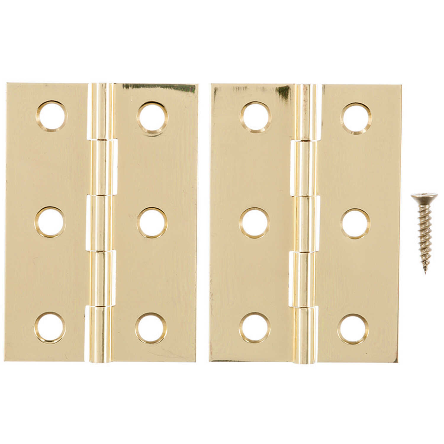 Ace  2-1/2 in. W x 1-3/4 in. L Polished Brass  Brass  Broad Hinge  2 pk