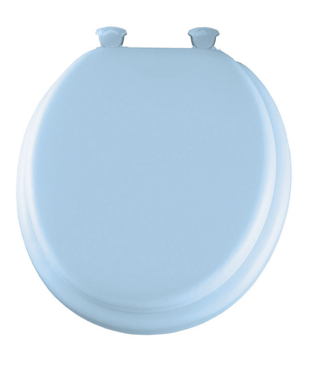 Mayfair Round Blue Vinyl Cushioned Toilet Seat