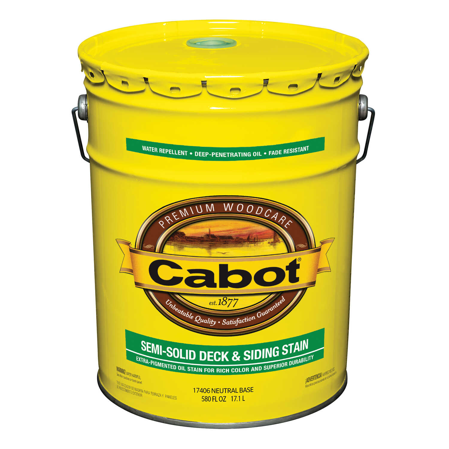 Cabot  Semi-Solid  Tintable 17406 Neutral Base  Oil-Based  Natural Oil/Waterborne Hybrid  Deck and S