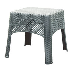 Adams Woven Square Gray Resin Woven Side Table