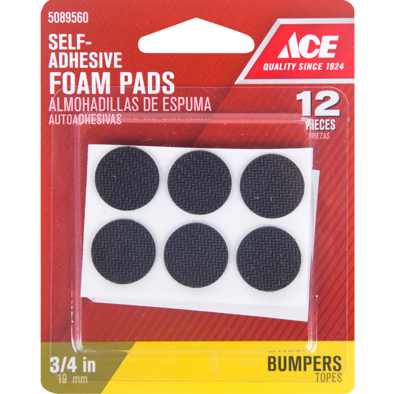 Ace  Foam  Non-Skid Pads  Black  Round  3/4 in. W 12 pk Self Adhesive