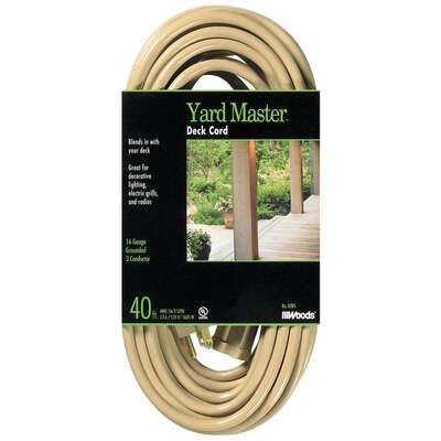 Woods  Yard Master  Outdoor  40 ft. L Beige  Extension Cord  16/3