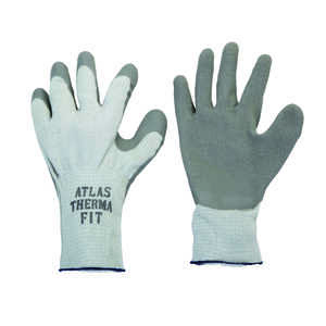 Atlas  Therma Fit  Unisex  Indoor/Outdoor  Rubber Latex  Cold Weather  Work Gloves  Gray  M