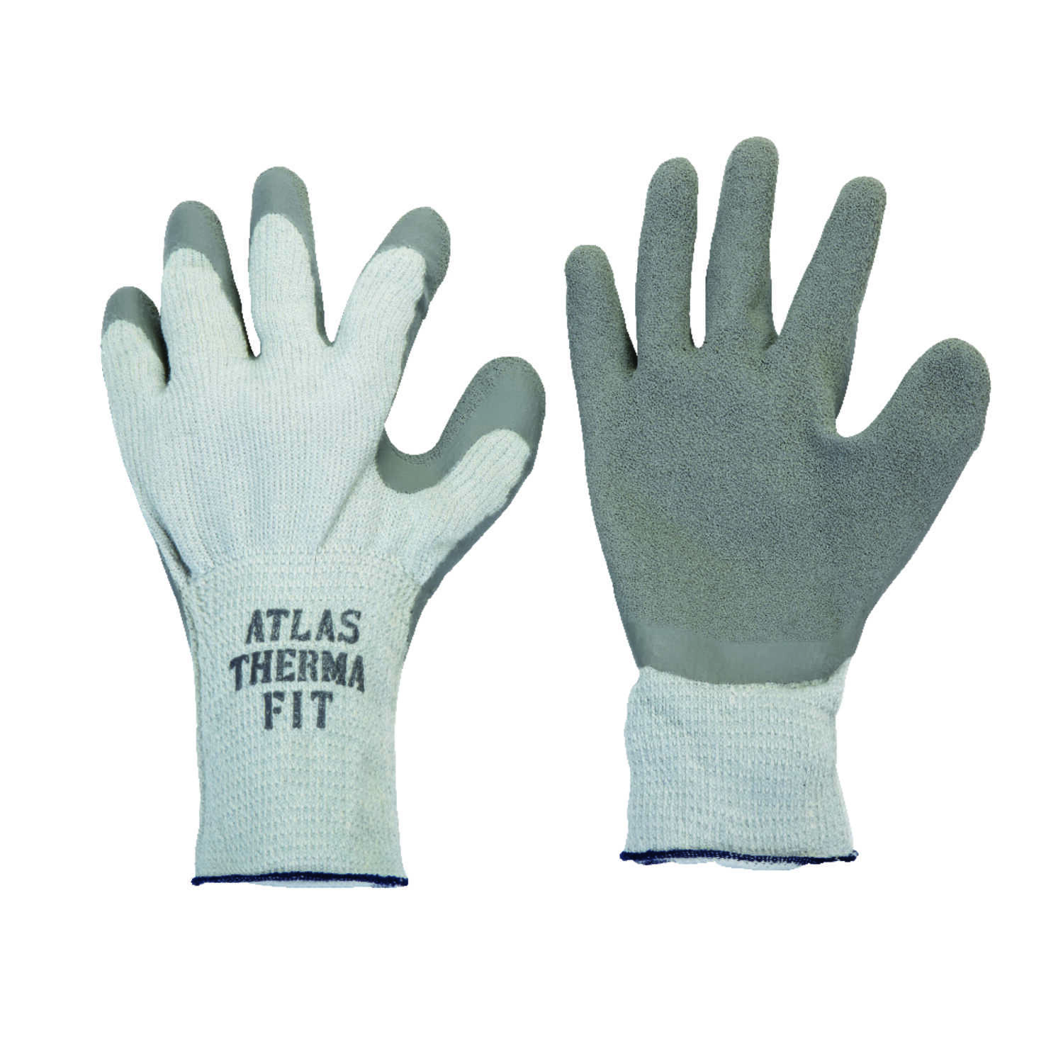 Atlas  Therma Fit  Unisex  Indoor/Outdoor  Rubber Latex  Cold Weather  Work Gloves  Gray  M  1 pair