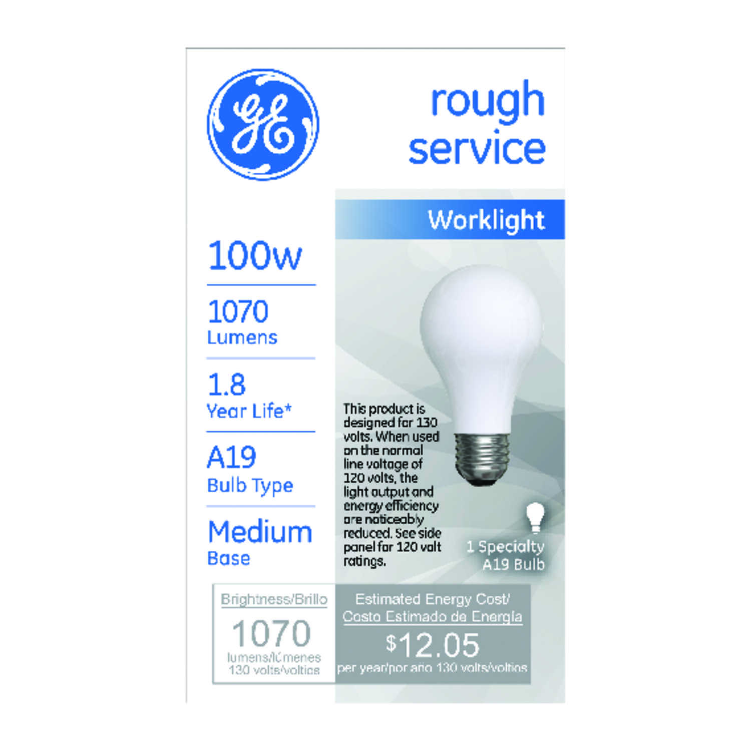 GE Lighting  rough service  100 watts A19  Incandescent Light Bulb  1070 lumens Soft White  Specialt