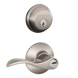 Schlage  Accent  Satin Nickel  Lever and Single Cylinder Deadbolt  ANSI Grade 2  1-3/4 in.