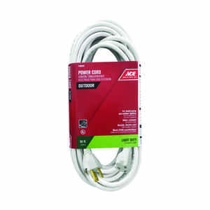 Ace  Outdoor  50 ft. L White  Extension Cord  16/3 SJTW