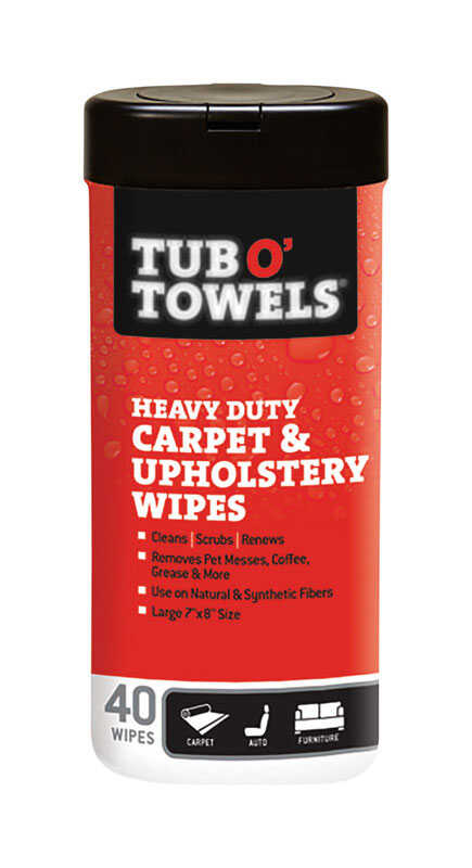 Tub O' Towels  Heavy Duty Carpet and Upholstery  Fiber Weave  Cleaning Wipes  7 in. W x 8 in. L 40 p