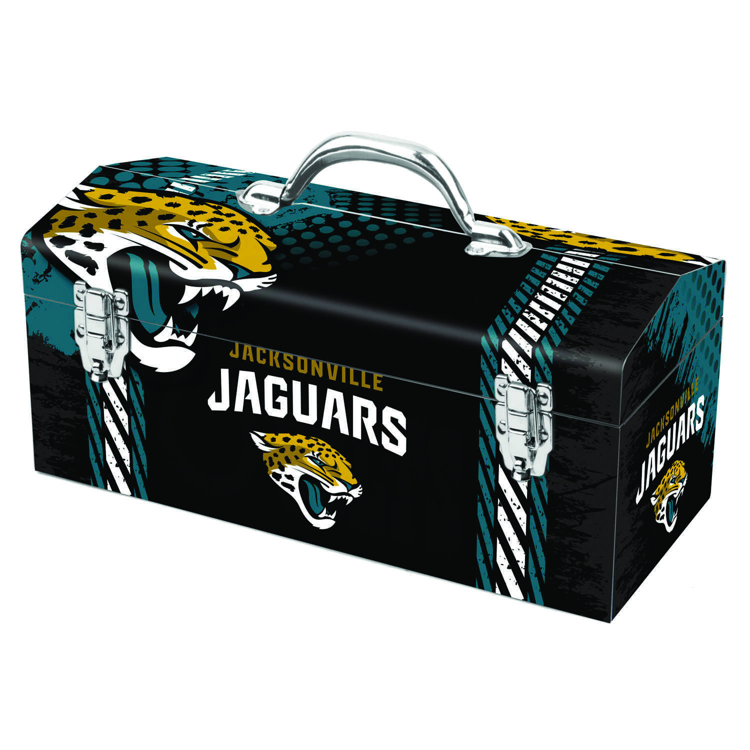 Sainty International  16.25 in. Steel  Jacksonville Jaguars  Art Deco Tool Box  7.1 in. W x 7.75 in.