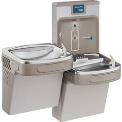 Elkay  EZH2O  8 gal. Gray  Bottle Filling Station and Bi-Level Water Cooler  Stainless Steel