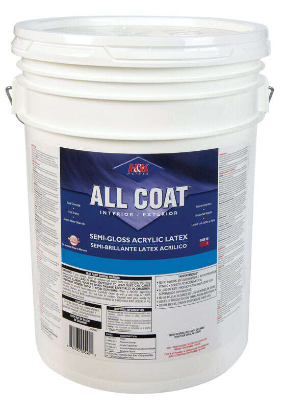 H&K Paints  All Coat  Semi-Gloss  Tawny Beige  Acrylic Latex  Paint  Indoor and Outdoor  5 gal.