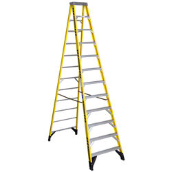 Werner 12 ft. H x 35.5 in. W Fiberglass Step Ladder Type IAA 375 lb. capacity