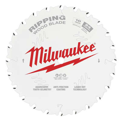 Milwaukee  10 in. Dia. x 5/8 in.  Ripping  Circular Saw Blade  Tungsten Carbide  24 teeth 1 pk