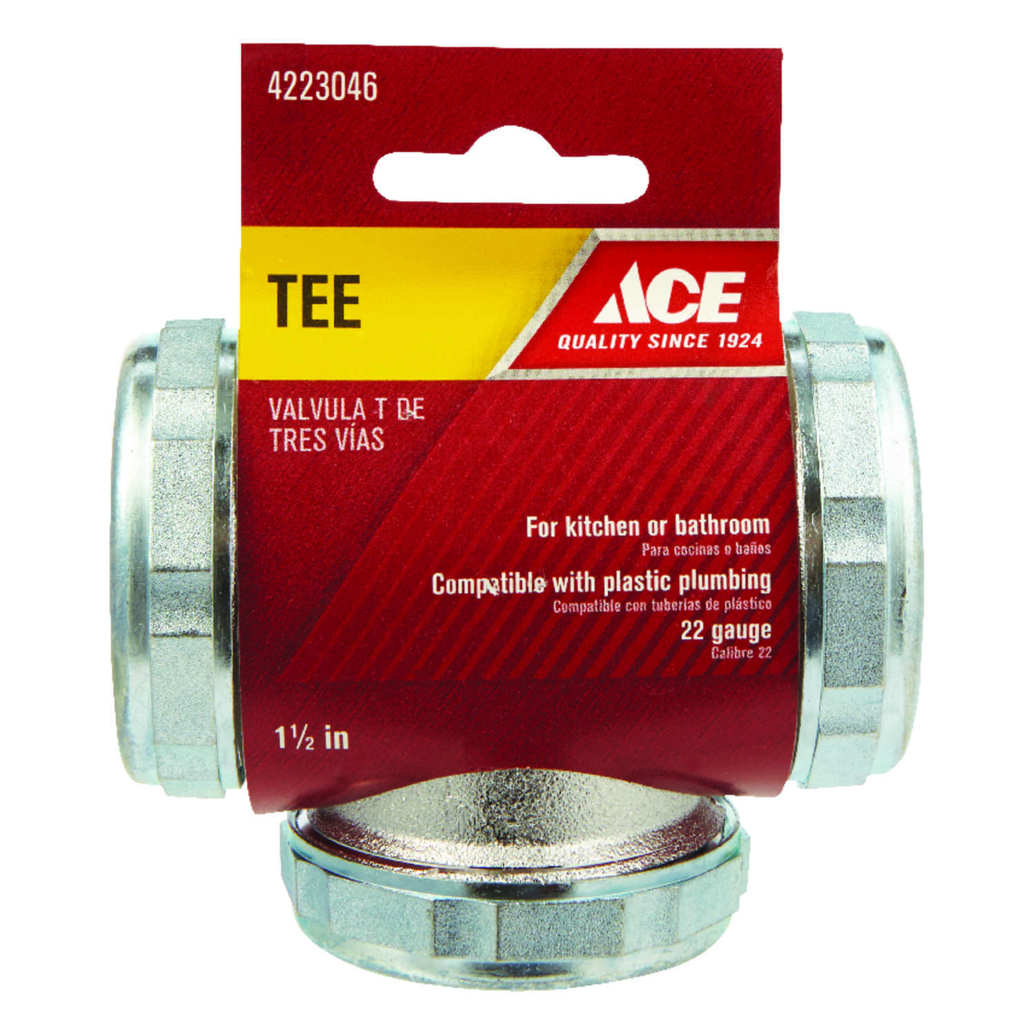 Ace  1-1/2  Dia. x 1-1/2  Dia. x 1-1/2 in. Dia. Slip To Slip To Slip  Chrome Plated  Brass  Tee