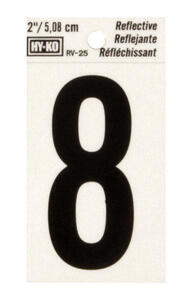 Hy-Ko  2 in. Reflective Black  Vinyl  Number  8  Self-Adhesive  1 pc.