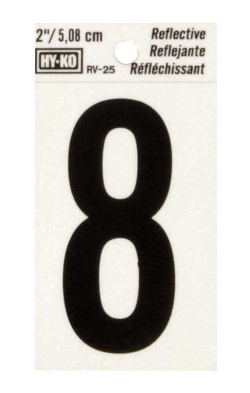Hy-Ko  2 in. Reflective Vinyl  Black  8  Self-Adhesive  Number