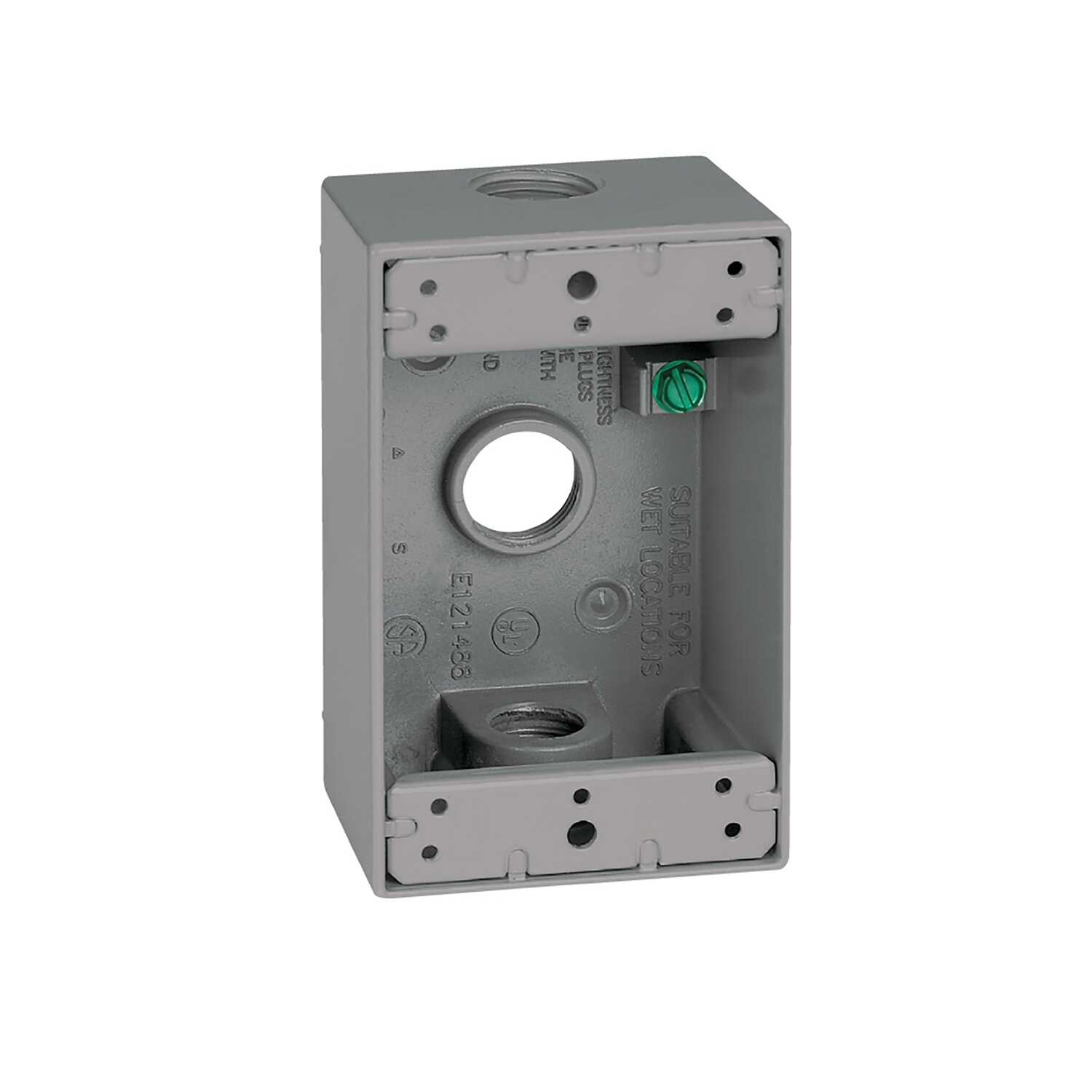 Sigma  4-1/2 in. Rectangle  1 Gang  Outlet Box  Gray  1 gang Aluminum