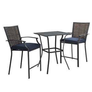 Living Accents  Fair Oaks  3 pc. Brown  Steel  High Dining Set  Navy Blue