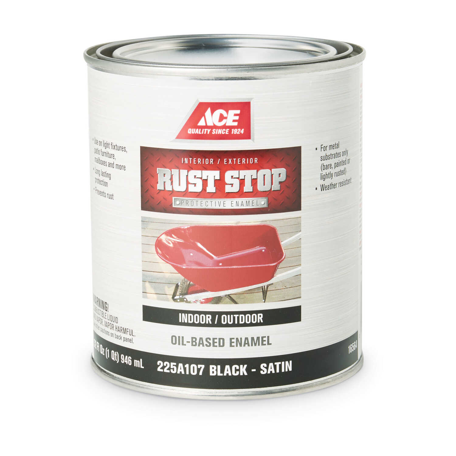 Ace  Rust Stop  Indoor and Outdoor  Satin  Black  Rust Prevention Paint  1 qt.