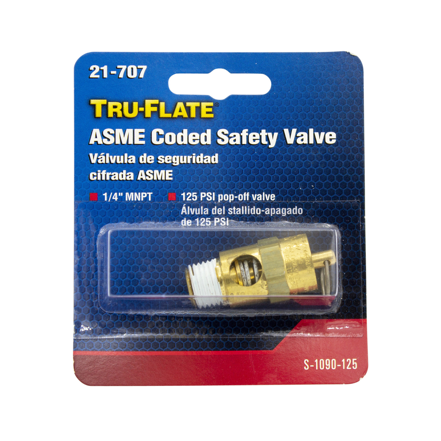 Tru-Flate  Brass  Safety Valve  1/4  MNPT  Male  1 pc. 1/4  Male  1/4 in.