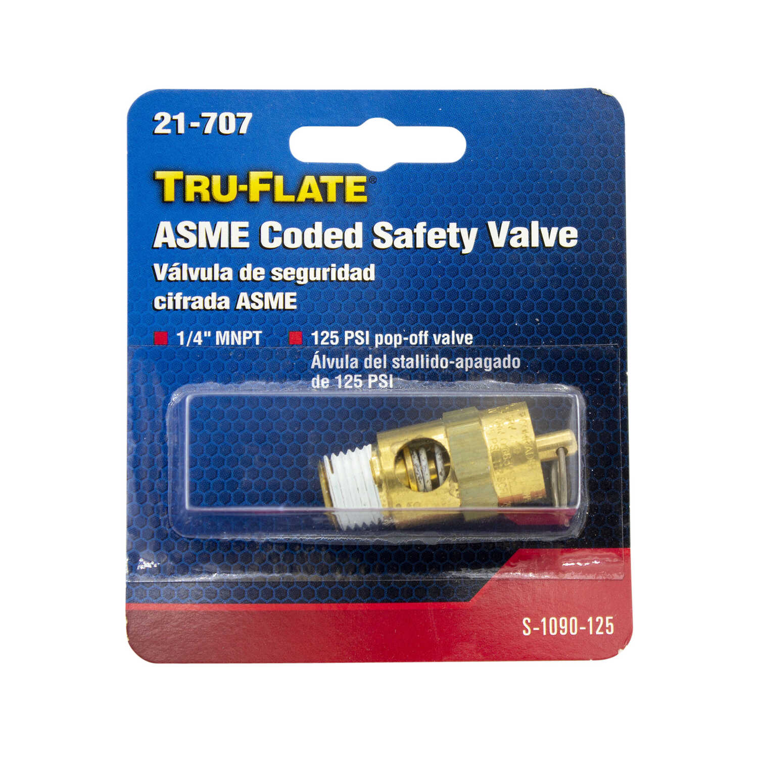 Tru-Flate  Brass  Safety Valve  1/4 in. Male  1 pc.