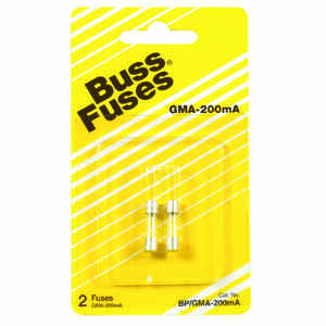 Bussmann  0.2 amps 250 volts Glass  Fast Acting Glass Fuse  2 pk