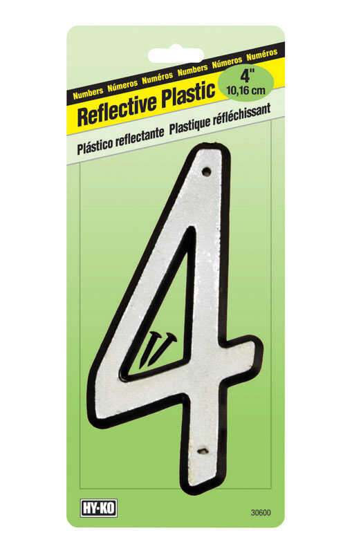 Hy-Ko  4 in. Reflective White  Plastic  Number  4  Nail-On  1 pc.