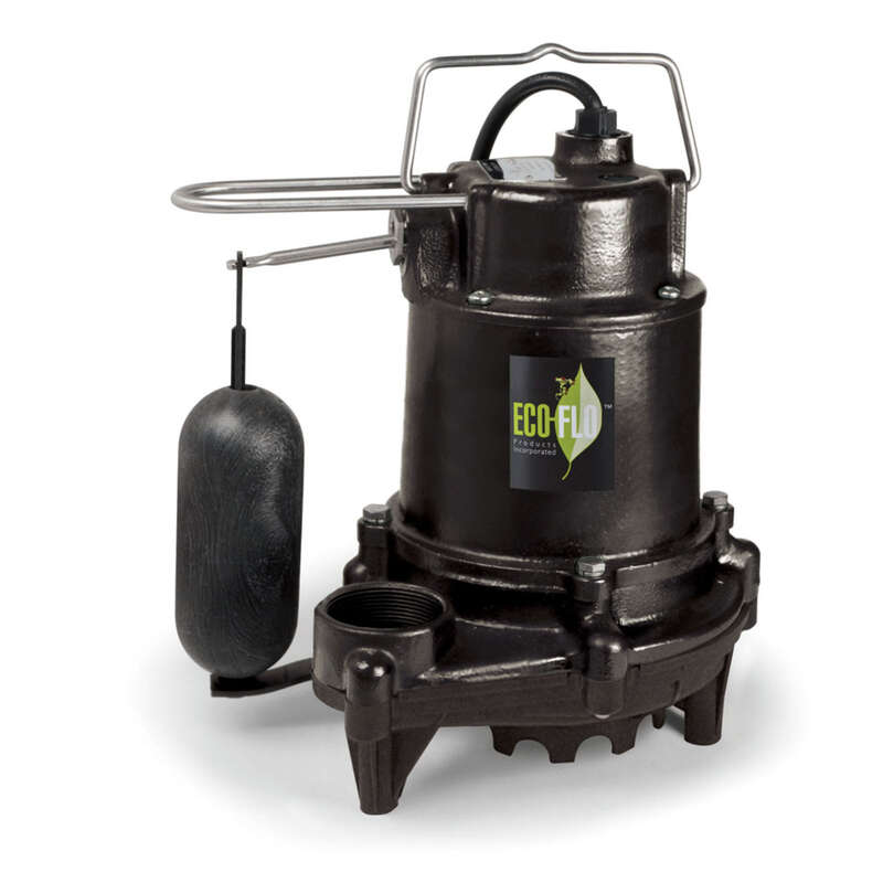 ECO-FLO  1/3 hp 3160 gph Cast Iron  Vertical Float Switch  AC  Bottom  Submersible Sump Pump