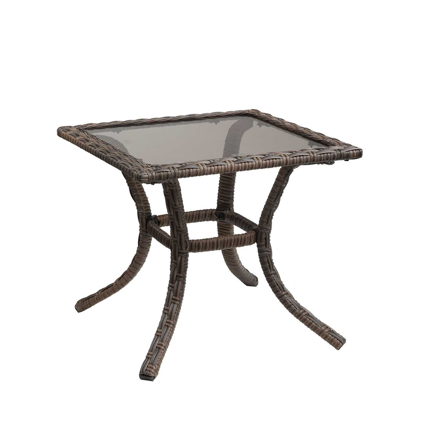 Living Accents  Brown  Charleston  Square  Glass  End Table