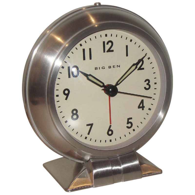 Westclox  3.8 in. Silver  Alarm Clock  Analog