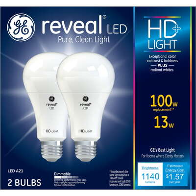 GE Lighting  Reveal  A21  E26 (Medium)  LED Bulb  Pure Clean Light  100 Watt Equivalence 2 pk