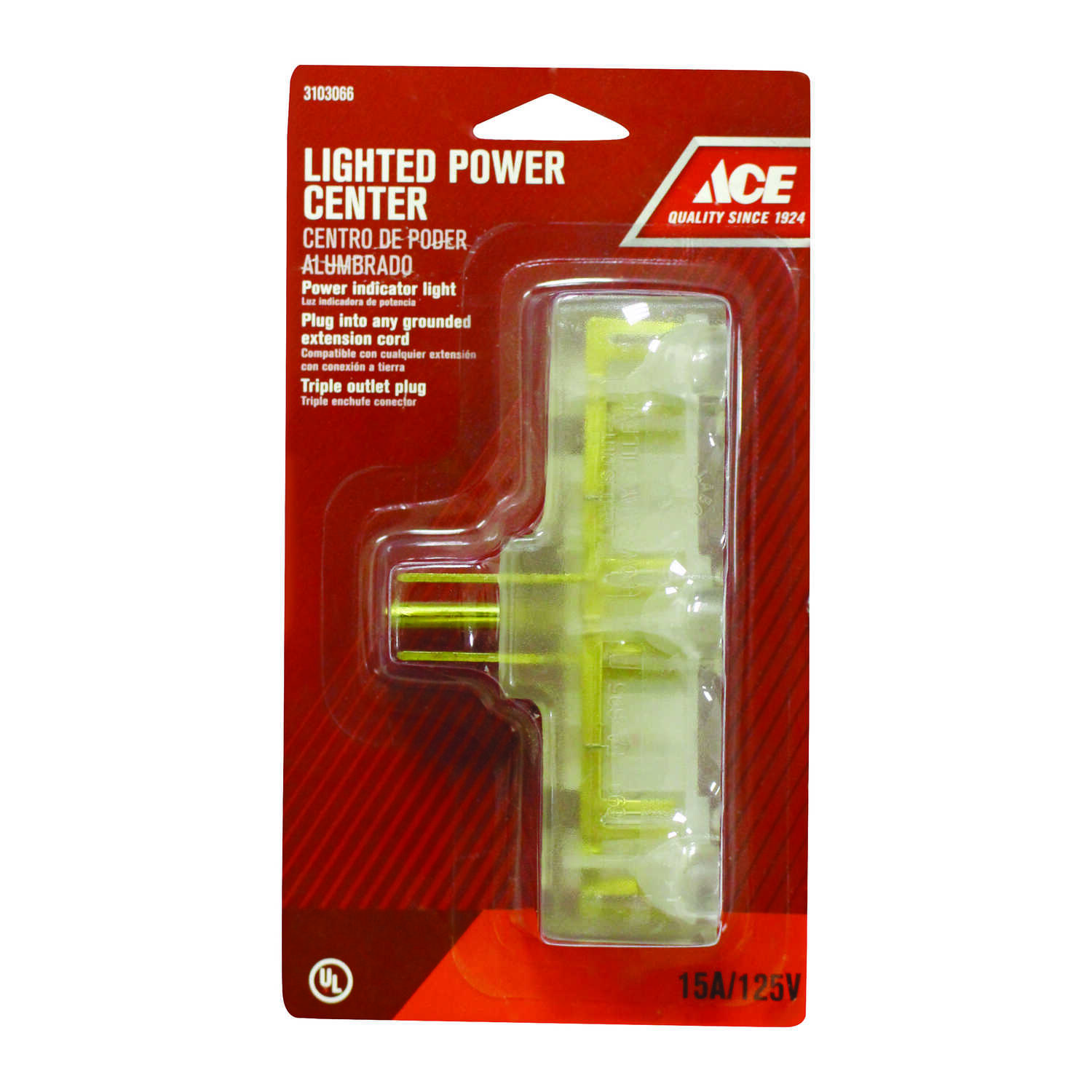 Ace  Grounded  3 outlets Outlet Adapter Lighted  1 pk