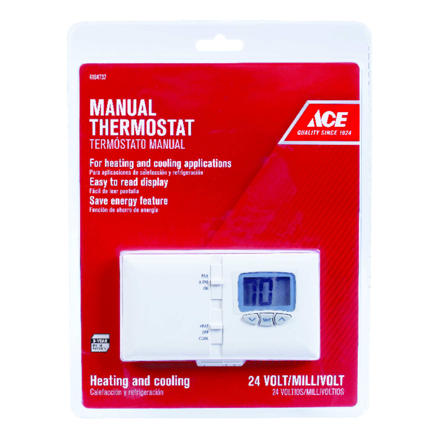 Ace  Heating and Cooling  Push Buttons  Thermostat