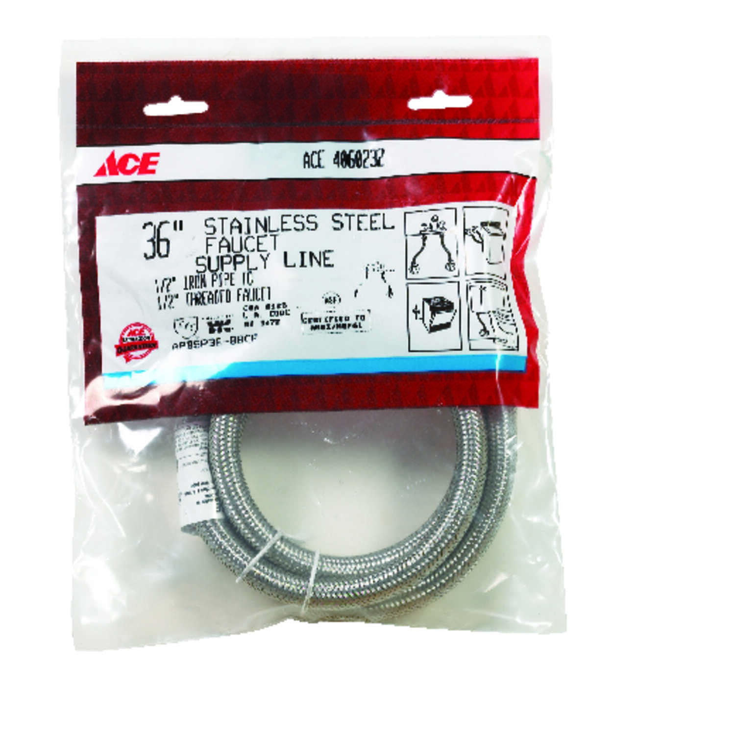 Ace  1/2 in. FIP   x 1/2 in. Dia. FIP  36 in. Braided Stainless Steel  Supply Line