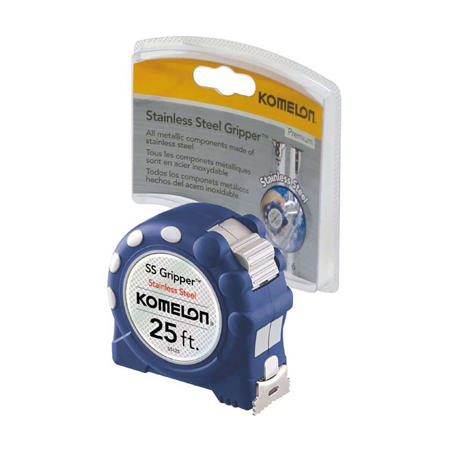 Komelon  Stainless Steel  1 in. W x 25 ft. L Blue  1 pk Auto Lock Tape Measure