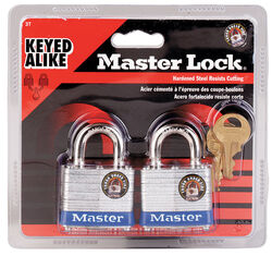Master Lock  1-5/16 in. H x 1-5/8 in. W x 1-9/16 in. L Laminated Steel  Double Locking  Padlock  2 p