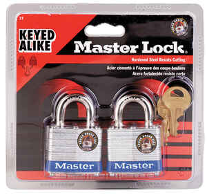Master Lock  1-5/8 in. W x 1-9/16 in. L x 1-5/16 in. H Double Locking  Padlock  Laminated Steel  Key