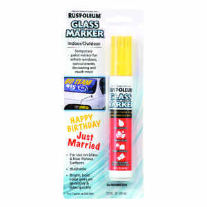 Rust-Oleum  Yellow  Broad Tip  Glass Marker  1 pk