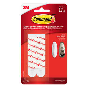3M  Command  Large  Foam  Adhesive Strips  4 in. L 6 pk