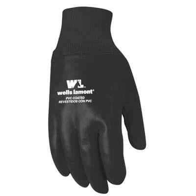 Wells Lamont  Men's  Indoor/Outdoor  PVC  Chore Gloves  Black  One Size Fits All  1 pair