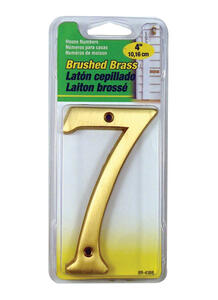 Hy-Ko  4 in. Gold  Brass  Number  7  Nail-On  1 pc.