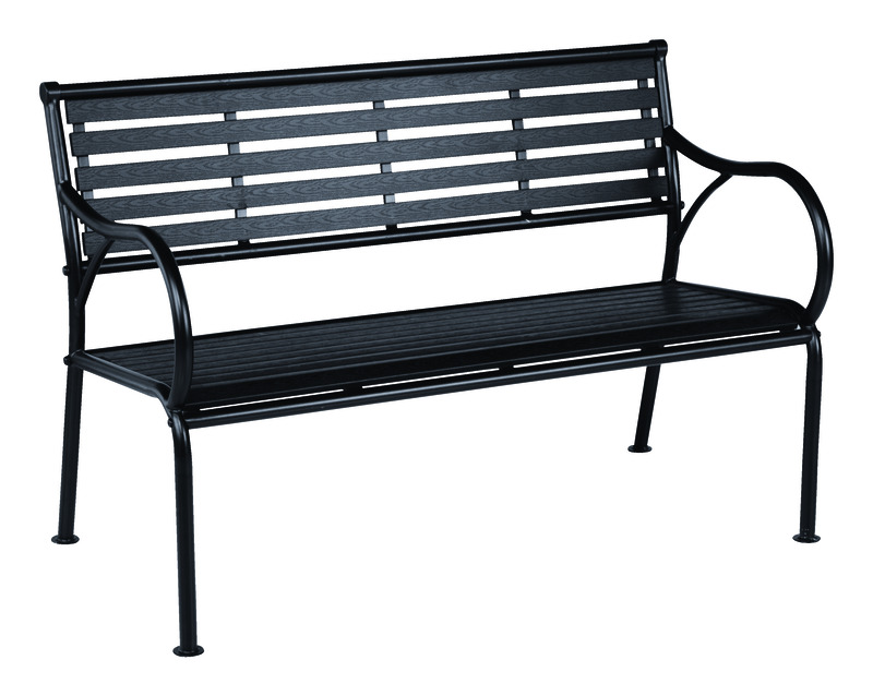 Living Accents  Faux Wood  Park Bench  Steel  31.5 in. H x 24.8 in. D
