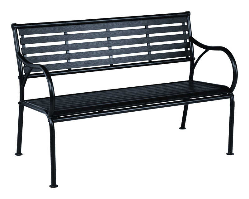 Living Accents  Faux Wood Slat  Park Bench  Steel  31.5 in. H x 48 in. L x 24.8 in. D