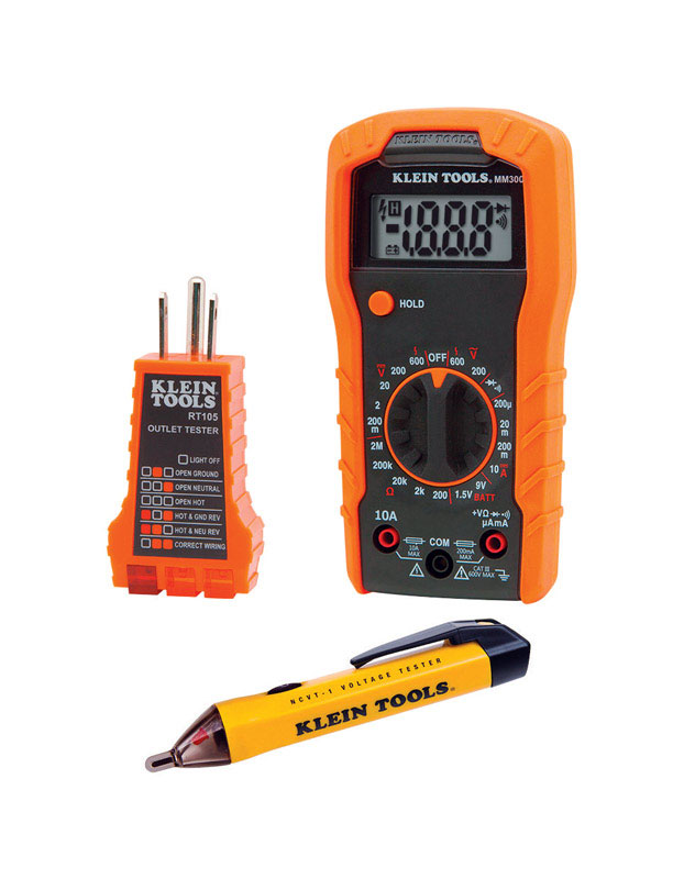 Klein Tools  Automatic  LCD  Electrical Tester Set  3 pk