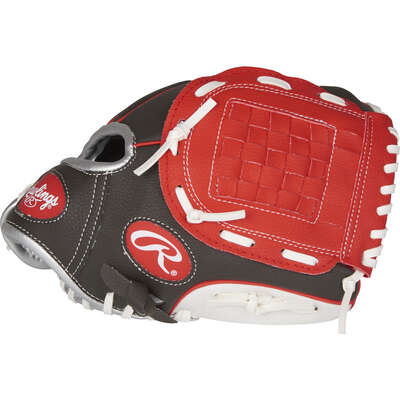 Rawlings  Players Series  Black/Red  Vinyl  Right-handed  Baseball Glove  10 in.  1 pk